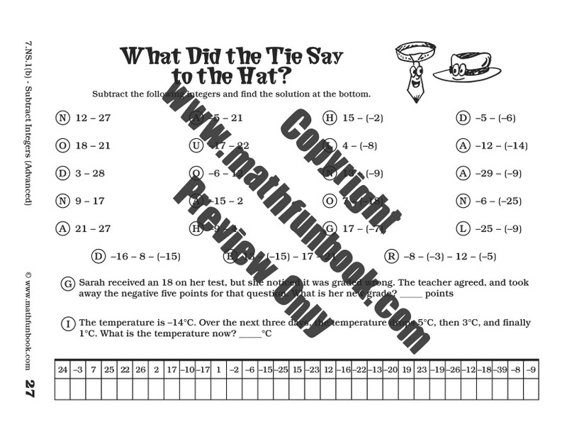 addition and subtraction of integers quiz pdf