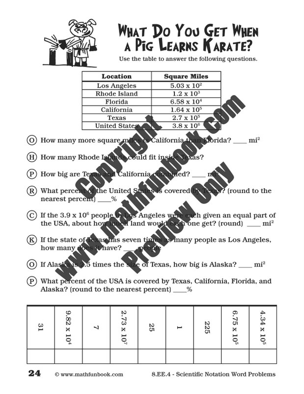 Grade 8 Common Core Math Worksheets Math Funbook – Scientific Notation Word Problems Worksheet