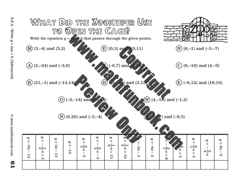 Grade 8 Common Core Math Worksheets Math Funbook – Y Mx B Worksheets